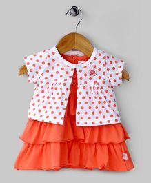 Tiered Polka Dots Dress – Orange