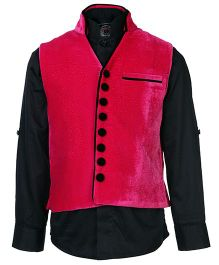 Little Bull Full Sleeves Shirt And Waistcoat Set - Dark Pink