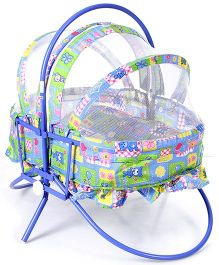 Mothertouch Rocking Cradle Cum Bassinet With Mosquito Net - Blue