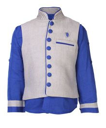 Little Bull Full Sleeves Shirt And Waistcoat Combo Embroidered Logo - Blue And Grey