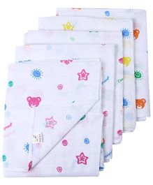 Tinycare Square White Baby Nappy Medium - Pack Of 5