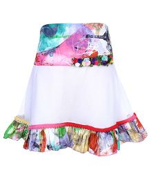 Softouch Skirt Pleated And Ruffled Bottom - Floral Applique