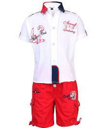 Active Kids Wear Shirt And Shorts Set - Aircraft Embroidery