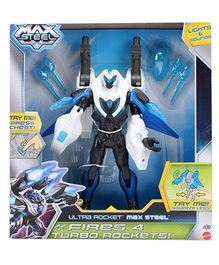 Max Steel Ultra Rocket Fires 4 Turbo Rockets - Height 29 cm
