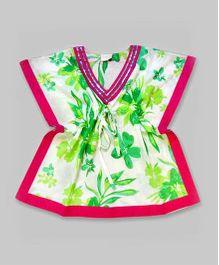 Green & Hot Pink Floral Kaftan