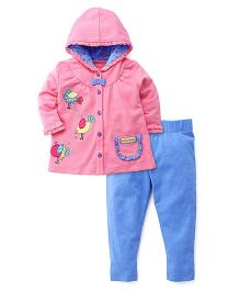 FS Mini Klub Full Sleeves Hooded Top And Leggings Bird Patch - Pink Blue