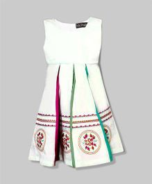 White & Maroon Fine Embroidered Dress