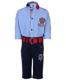 Active Kids Wear Shirt And Capri Set - Dual Colored Collar