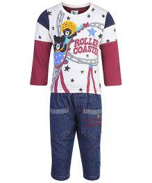 Cucumber T-Shirt And Denim Pants Set - Bear Print