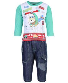 Cucumber T-Shirt And Denim Pants Set - Helicopter Print