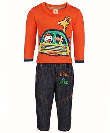 Cucumber Full Sleeves T-Shirt And Denim Set - Giraffe Print
