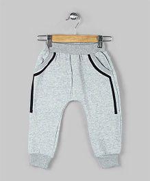 Baobaoshu Rib Hemline Fleece Pants - Grey