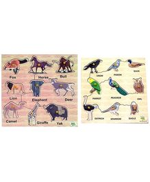 Dealbindaas Wooden Puzzle Combo - Birds And Animals
