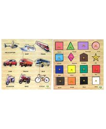 Dealbindaas Wooden Puzzle Combo - Shapes And Transport