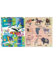 Dealbindaas Wooden Puzzle And Ekta Color And Wipe Combo