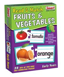 Smart Toy Puzzle Read And Match Fruits And Vegetables - 28 Set of Two Piece