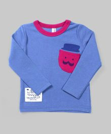 Blue Smiley Patch Pocket Tee