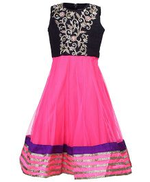 Doll Sleeveless Party Wear Dress Floral Self Pattern - Pink And Black