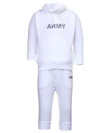 Invincible Hooded Fleece T-Shirt And Legging Set - White