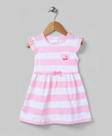 White And Pink Striped Dress With Gathers