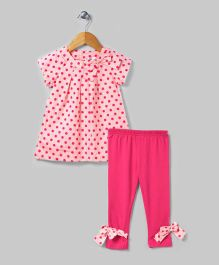 Hot Pink Polka Dot 2 Piece Tunic Set