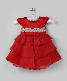 Red Tiered Dress with Floral Embroidery