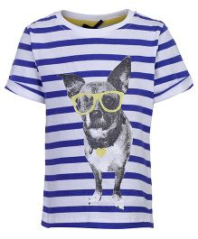 Nauti Nati Half Sleeves Top - Stripes And Puppy Print