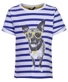 Nauti Nati Half Sleeves Top - Stripes And Puppy Print