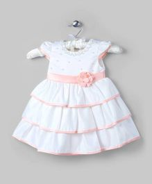 Satiny White And Peach Tiered Dress