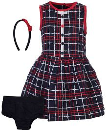 Nauti Nati Sleeveless Plaid Frock With Hairband And Bloomer