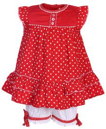 Nauti Nati Frock Style Top With Bloomer Red - Polka Dots