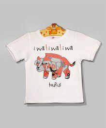 White Taurus Raglan T-Shirt