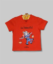 Red V Neck Libra T-Shirt