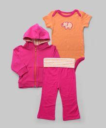 Orange & Pink 3 Piece Elephant Bodysuit Set