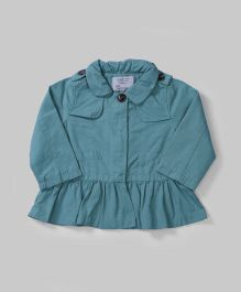 Teal Collared Neck Peplum Top