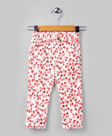 White & Red Cherry Theme Pants