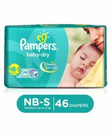 Pampers Baby Dry Diapers Newborn To Small - 46 Pieces