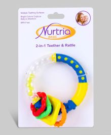 Blue & Yellow 2- in-1 Baby Rattle and Teether