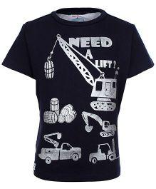 Nauti Nati Half Sleeves T-Shirt Navy Blue - Need A Lift Print