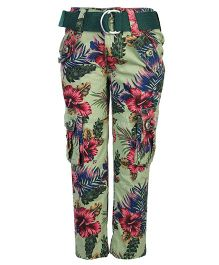 Noddy Original Clothing Pant With Belt Floral Print - Green