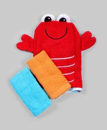 Multicolor Set of Wash Mitt and 2 Wash Cloths