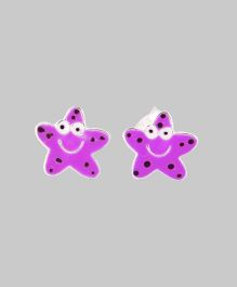 Purple Star Smiley Earrings