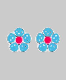 Blue Pink Flower Earrings