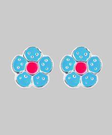 Blue Pink Flower Earrings