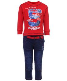 Formula 1 Full Sleeves T-Shirt And Denim Pant Set - Championship Print
