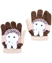 Babyhug Hand Gloves Bunny Face Motif - Brown