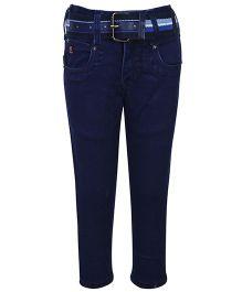 Talent Full Length Jeans With Belt - Dark Blue