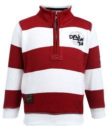 Ruff High Neck Sweatshirt Full Sleeve - Stripes