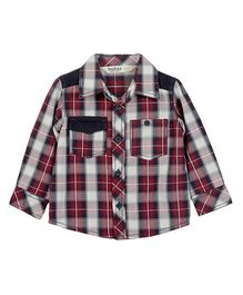 Beebay Corduroy Patch Check Shirt Maroon - Checks