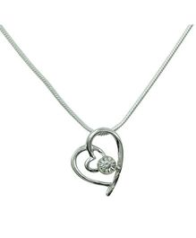 Diovanni Crystal Necklace - Hearts Solitaire Desire and Ambitio